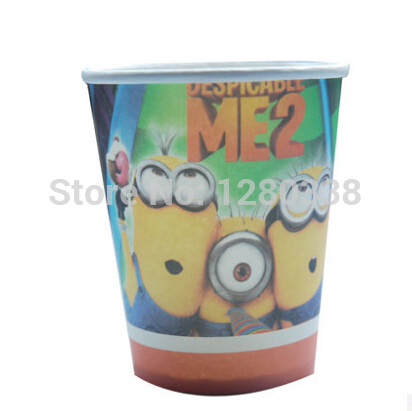 24PC/Lot Yellow Minions Theme arty Paper Cups Cute Kids Birthday/Festival Party Eco-Friendly Party Supplies()