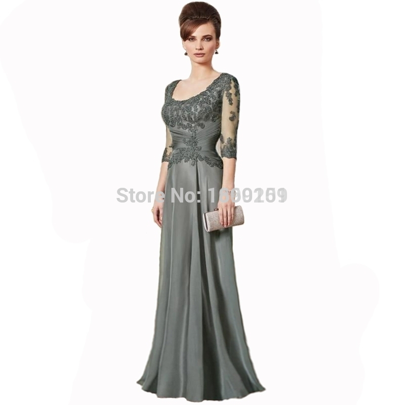 Gray 2016 mother of the bride dresses a line long sleeves for Gray dresses for a wedding