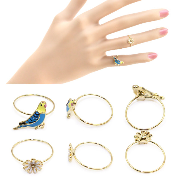 2016 knuckle ring wholesale 2pcs/set mixed order $15 Korean parrot daisy rhinestone flower ring(China (Mainland))