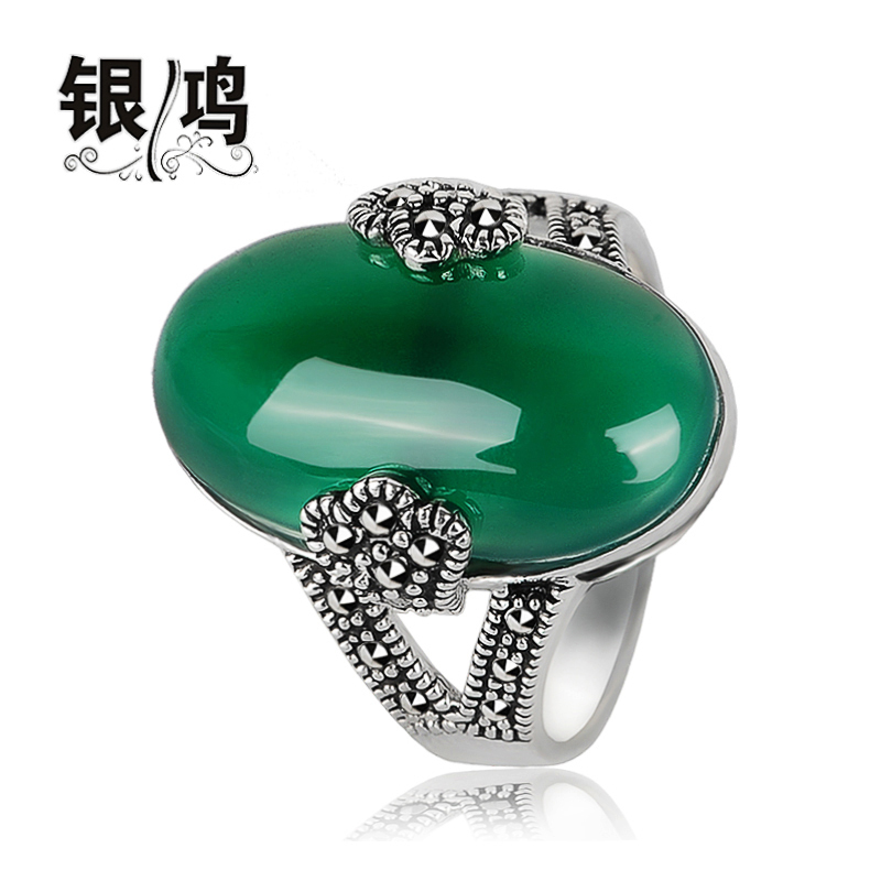 Yin Hong 925 Silver Natural Green Agate Ring Hand retro Thailand Bangkok silver female section index finger ring<br><br>Aliexpress