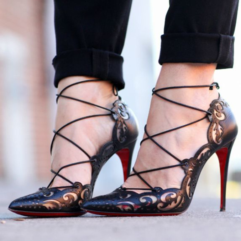 Spring Summer Hot Selling New Sexy Laser Cut-outs Ankle Designer Pointed Toe Lace Up Women Pumps High Heels Sandals Shoes Woman<br><br>Aliexpress