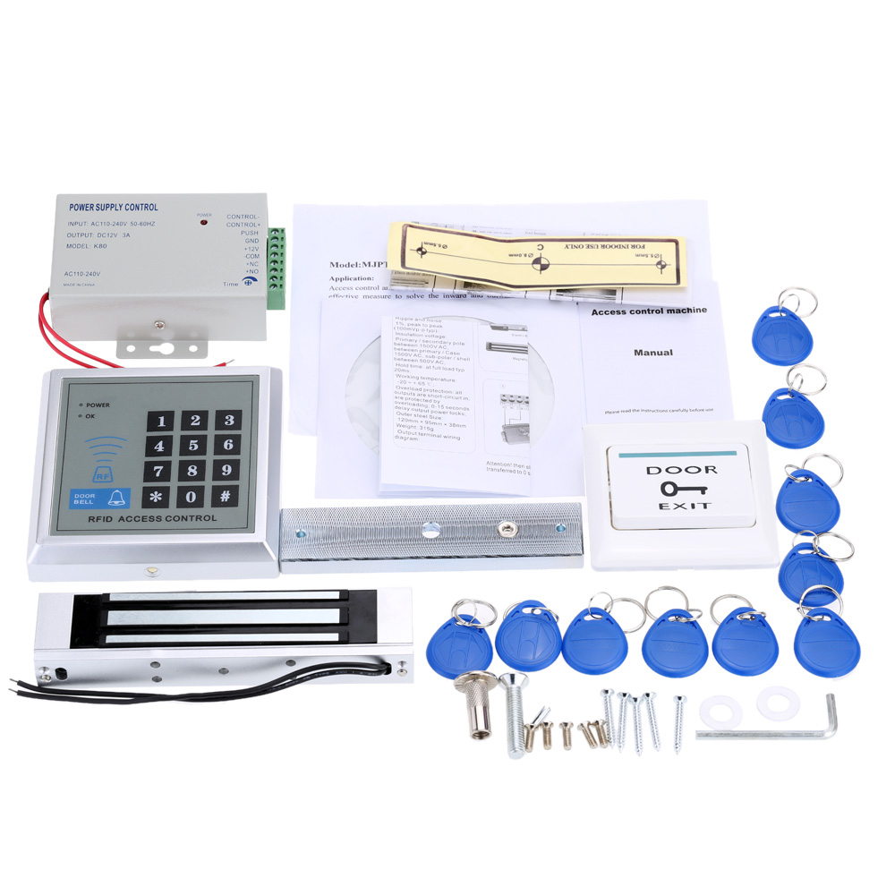 Access Control System Kit Password Host Controller + 180Kg Electric Magnetic Lock+ Door Switch +Power Supply + 10pcs ID Key Fobs(China (Mainland))