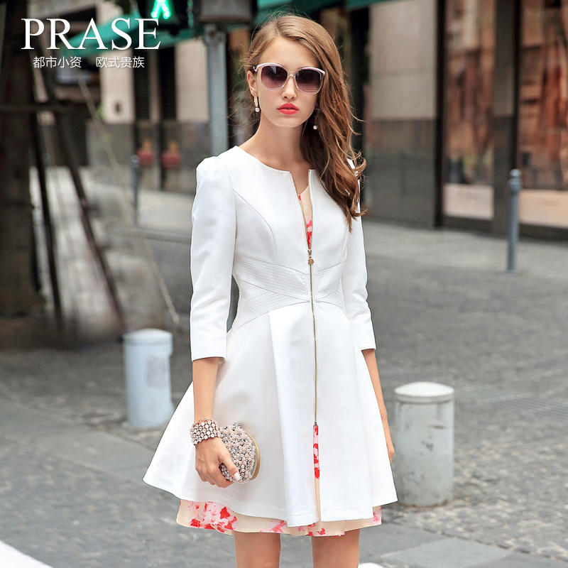 Trench coat 2015 british style slim coat female medium-long autumn trench coat for women white/black free shipping size s-xxl(China (Mainland))