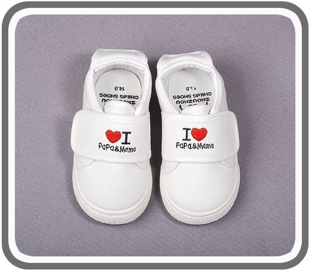 new baby girls boys sport shoes love papa mama kids sneakers first walker fit For 1-3yrs Babies Shoes white Free Shipping