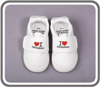2015 new baby girls boys sport shoes love papa mama kids sneakers first walker fit For 1-3yrs Babies Shoes white Free Shipping
