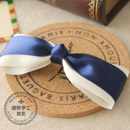 princess sweet lolita Navy blue ribbon handmade bow hairpin side-knotted clip hairpin plate hair pin a028