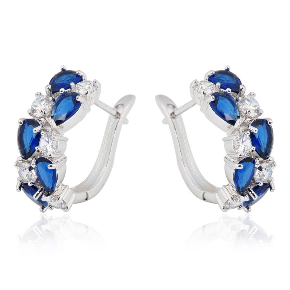 Top Sale Charm Fashion Sapphire Jewelry Women Hoop Earrings 18K White Gold Plated Water Drop Earrings for Women Brinco Ear0055(China (Mainland))