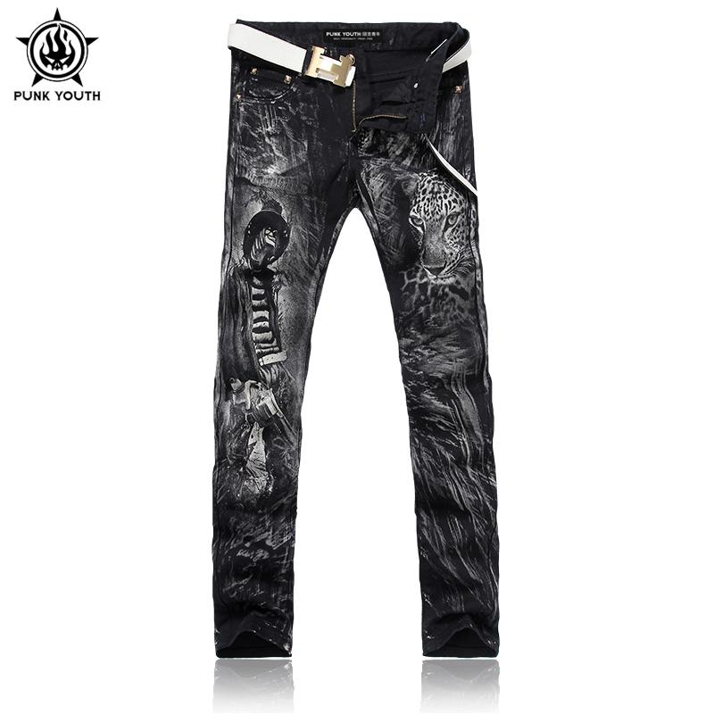 Punk Youth Men 2016 Fashion Personality Leopard Print Slim Denim Jeans Elastic Jeans Men Long Jeans Trousers Men(China (Mainland))