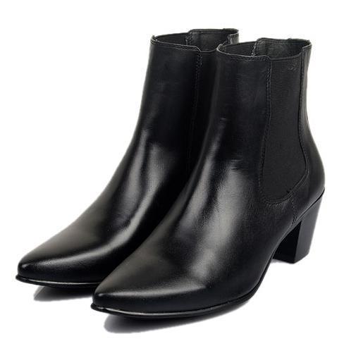 2014 men's pointed toe korean british style 7cm high-heeled height increasing elastic sqare heel band denim martin boots - Fashion Men & Women Shoes store