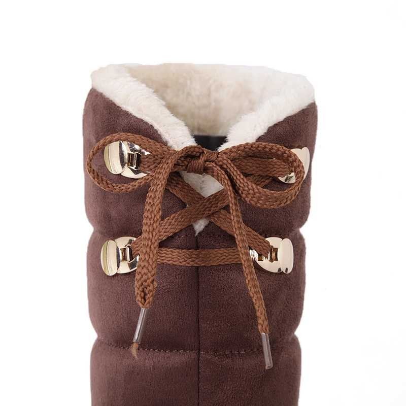 ซื้อ พลัสSize34-45 2016มาใหม่ผู้หญิงรองเท้าออกแบบรองเท้าแฟลตรองเท้าหิมะฤดูหนาวที่อบอุ่นหญิงยาวเข่าสูงบู๊ทส์SBT1527