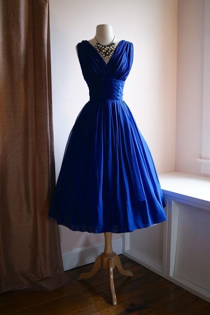 Elegant pleats royal blue short cocktail dress wide pleats for Portland wedding dress shops