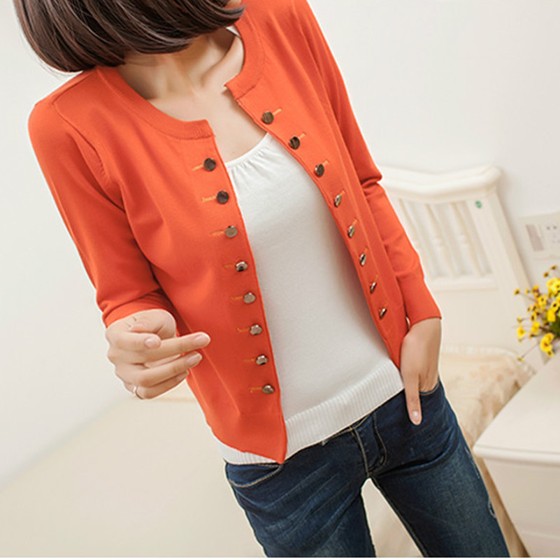 Free shipping 2014 Autumn Spring Winter Women Cardigan Sweater Outerwear Thin All-match Elegant Double Breasted Plus Size PH0731(China (Mainland))