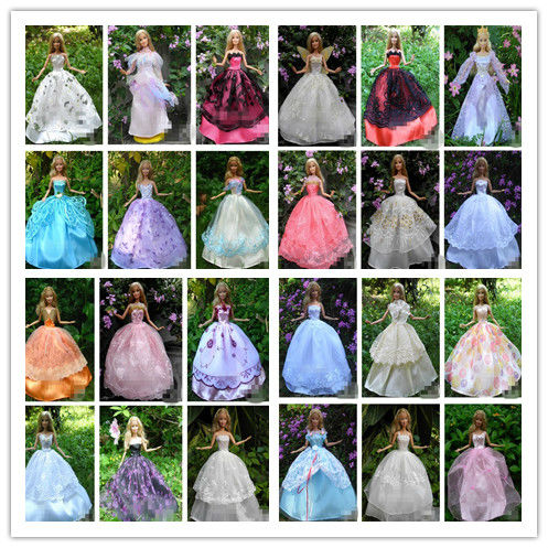 30 Items = Dresses + Hangers +Shoes Handmade Gown Dress Clothing For Barbie Doll(China (Mainland))