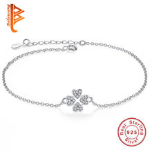 2016 NEW Fine Jewelry Original 925 Sterling Silver Bracelet Four Leaf Clover heart Charm Bracelets for Women Wedding Jewelry(China (Mainland))