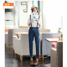 2016 Casual Dismountable Jeans Salopette Women Suspender Jeans Straight Overall Pocket Denim Harem Trousers Jumpsuits plus size