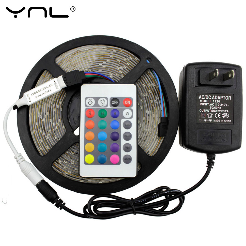 YNL Brand 5M/300led RGB LED Strip Light Waterproof SMD2835 for 24 Key IR Remote Controller 12V Power Adapter Flexible Tape Light(China (Mainland))