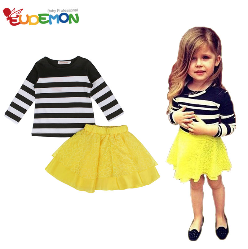 [Eudemon] girl clothing set Striped Clothes and Lace Dress kids clothes Children Clothing toddler girl summer clothes(China (Mainland))