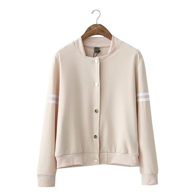 RG82 женщины бейсбол куртка Мода Осень 2015 Белые Полосы Рукава Однобортный винтаж ...