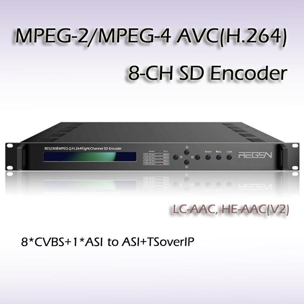 RES2308 10 8 CH MPEG 2 MPEG 4 AVC H 264 SD Encoder 8 CVBS 8