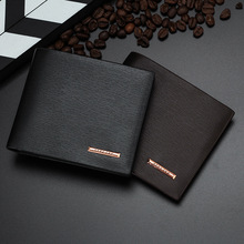 Buy New Men's Wallets Soft PU Leather 2 Folds Business Casual Short Black Brown Colors Photo Bit ID Card Holder Purse Wallet for $3.91 in AliExpress store