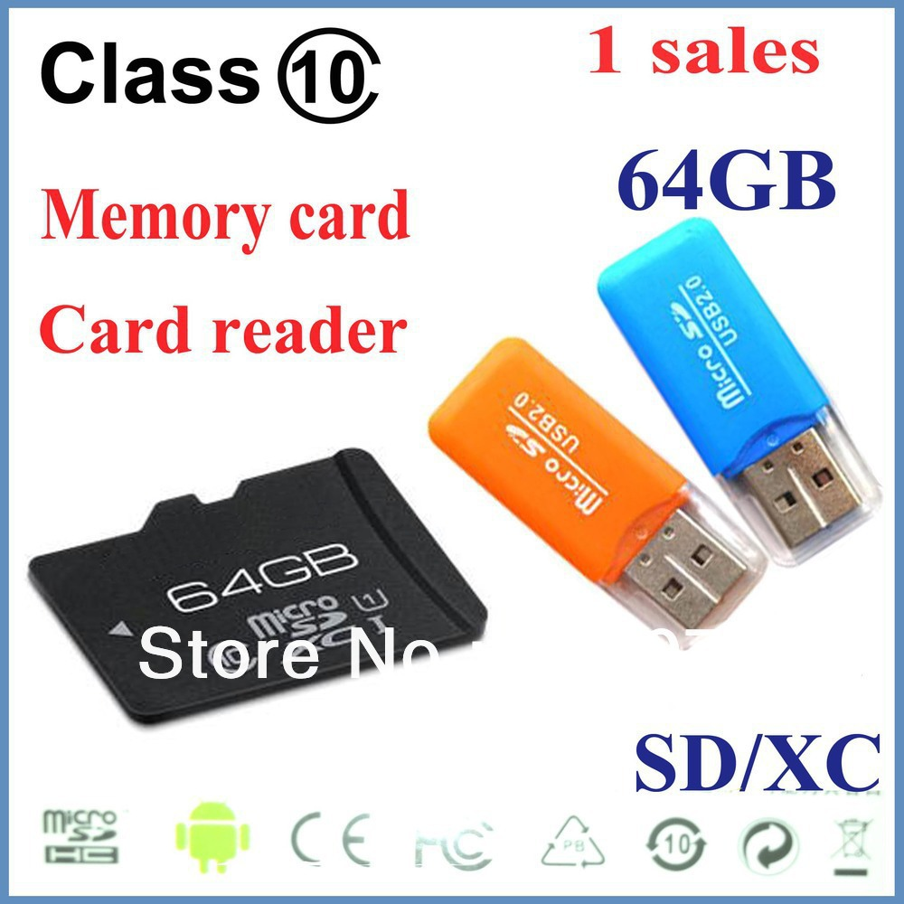 5PCS Free Shipping SD 64GB class 10 Micro SD Memory Card TF 64 GB, 64G+With retail packaging+USB adapter(China (Mainland))
