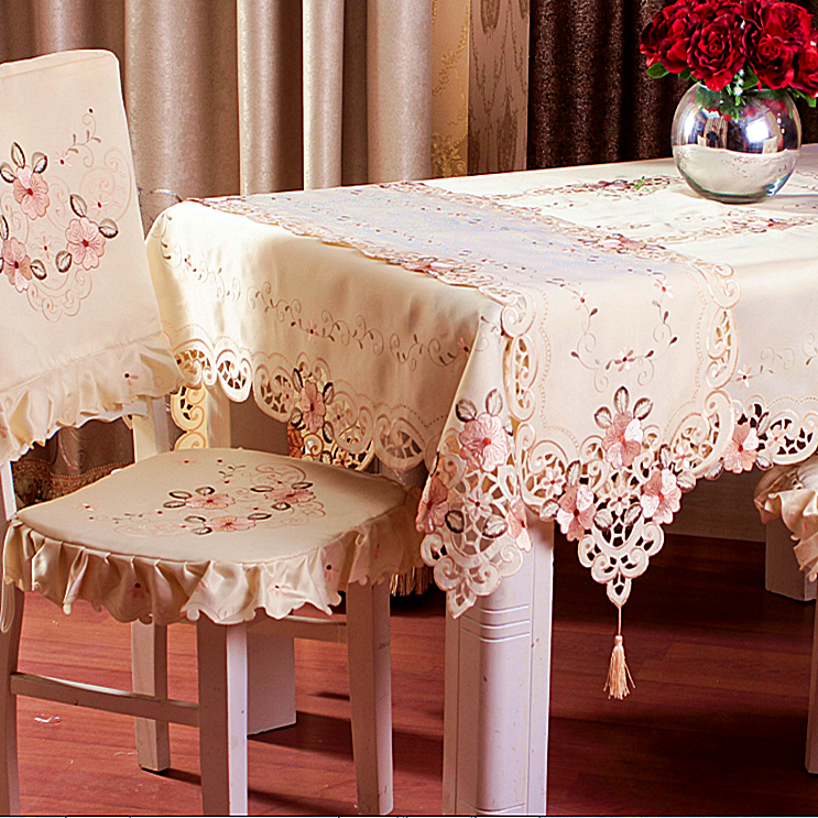 quality fashion l embroidered rustic dining tablecloth fabric chair covers set table runner coffee table round table cloth(China (Mainland))