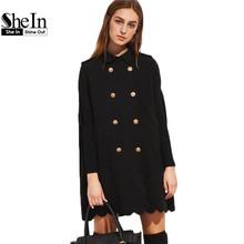 SheIn Cape Coat Women Designer Coats Winter Outerwear Women Elegant Black Double Breasted Lapel Scallop Edge Cape Coat(China (Mainland))