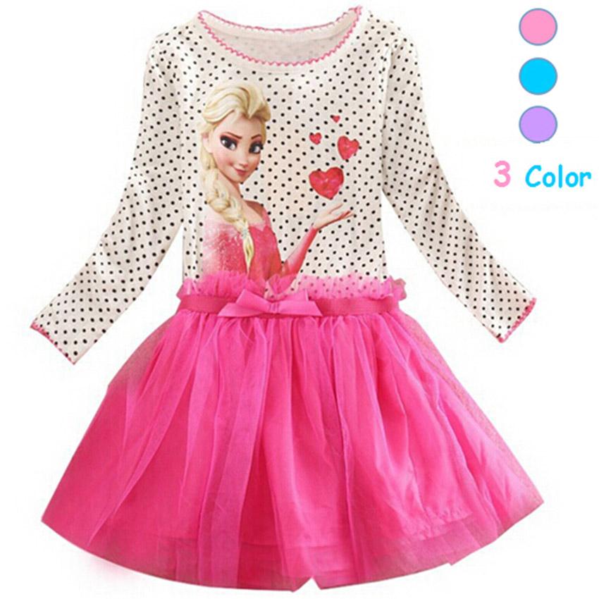 New Elsa Anna Girls Dress Cosplay Party kid Dresses Princess Children clothing Baby Kids Vestidos toddler girl dress(China (Mainland))