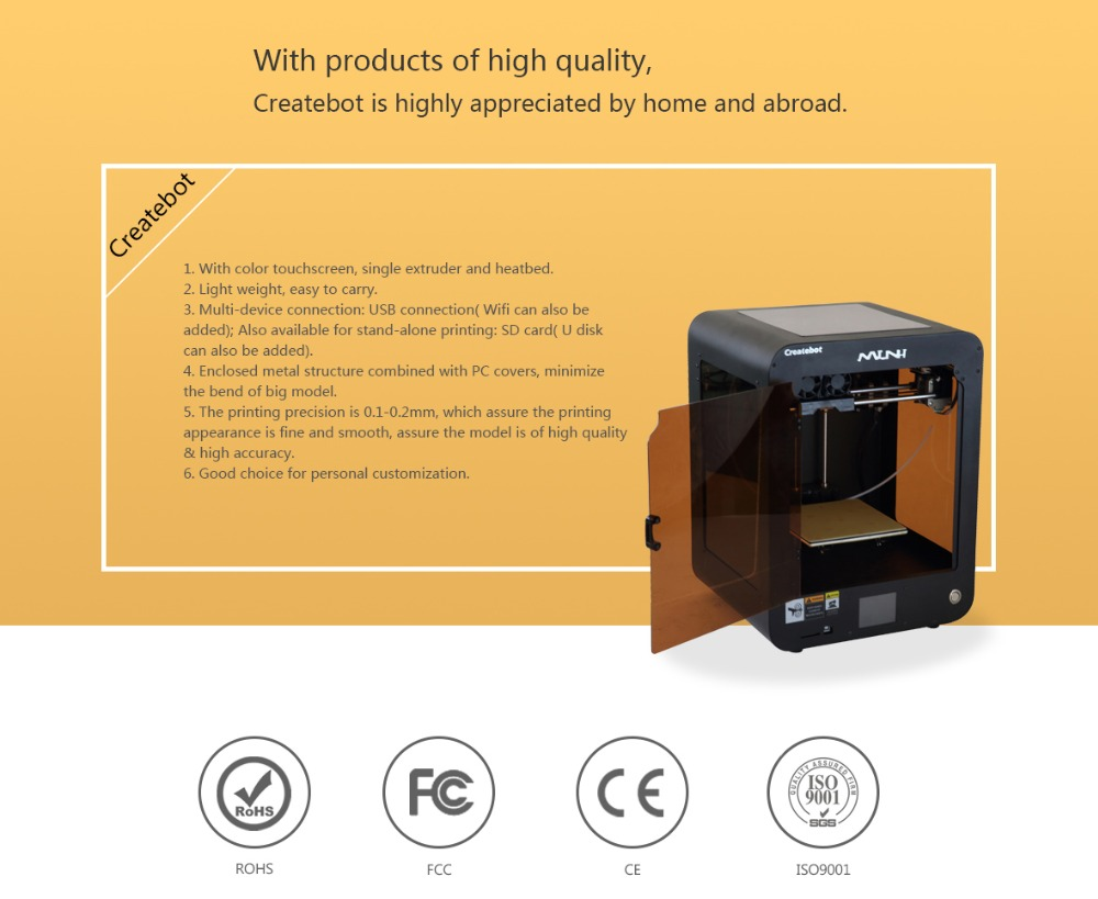 High Precision 3D Printer with Heatbed, Touchscreen, Single-extruder Metal Shell Very Popular on Sale