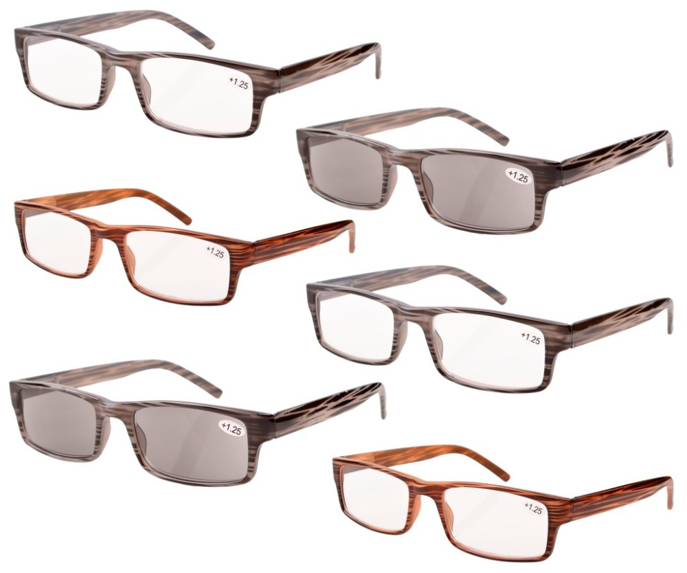 R026 Mix 6 Pack Spring Hinge Reading Glasses Including Sun Readers 0 5 0 75 1