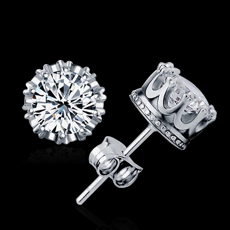 LOWAY 925 Sterling Sliver Prata Fashion Jewelry 8MM Round 2 Carat Cubic Zirconia Silver Stud Earrings ED2632(China (Mainland))