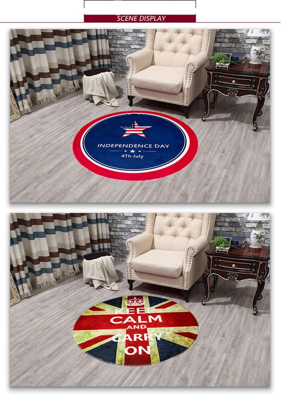 Flag Round Rugs Living Room Doormat Round Cartoon Carpets Door Floor Mat  Bedroom Anti Slip Tapete Round Rug Diameter 60cm/80cm   Us534
