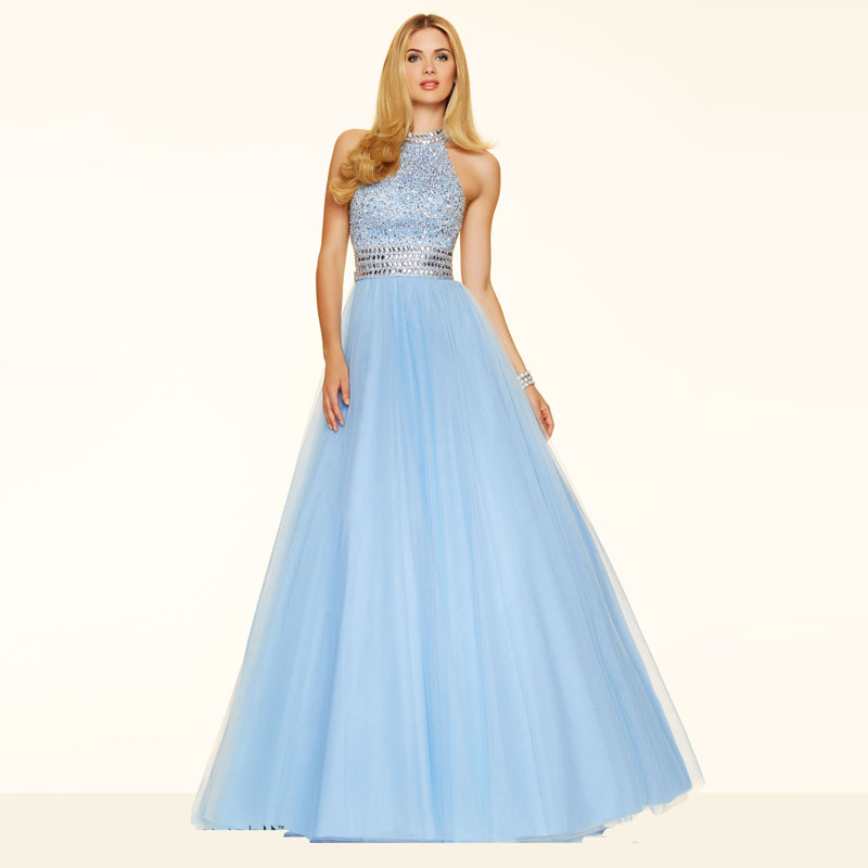 2016 Tall Girl Long Prom Dresses with Beading High Neck Crystals Keyhole Back Formal Party Dresses Soft Tulle(China (Mainland))