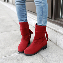 Big Size 35-52 Women Cross Strap Flat Short Boots Autumn Winter Warm Snow Boots 2015 Flock Mid-calf Boots Lovely Shoes Woman(China (Mainland))