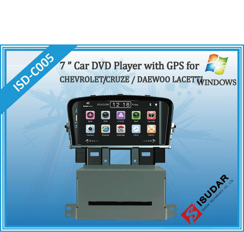 Two Din 7 Inch Car DVD Player For CHEVROLET/CRUZE For DAEWOO/LACETTI With 3G Host Radio GPS RDS Bt TV 1080P Ipod Free Maps(China (Mainland))