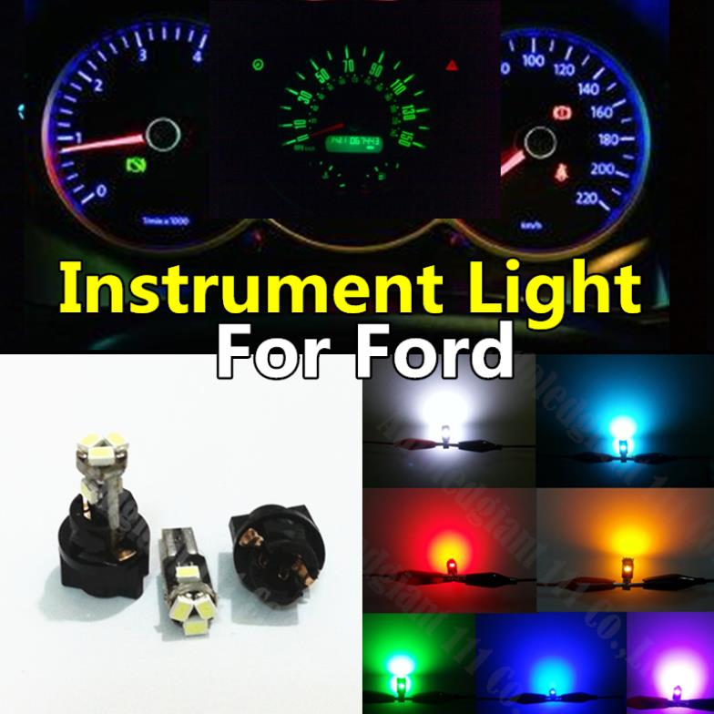10pieces Yellow White Red Blue Pink Green Ice Blue T5 Dashboard LED with Socket Instrument Panel Indicator Light Bulb For Ford(China (Mainland))