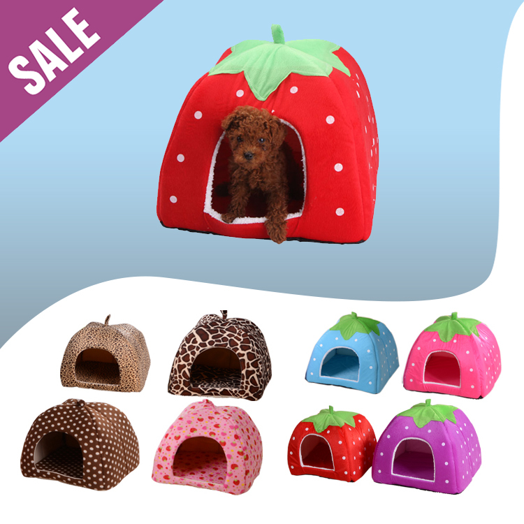 Removable Pet House Bed Washable Pet Bed for Dogs Soft Lint Pet Bed Patterns Durable Pet Cat Couch Bed Fabric Bottom Yurt Shape(China (Mainland))