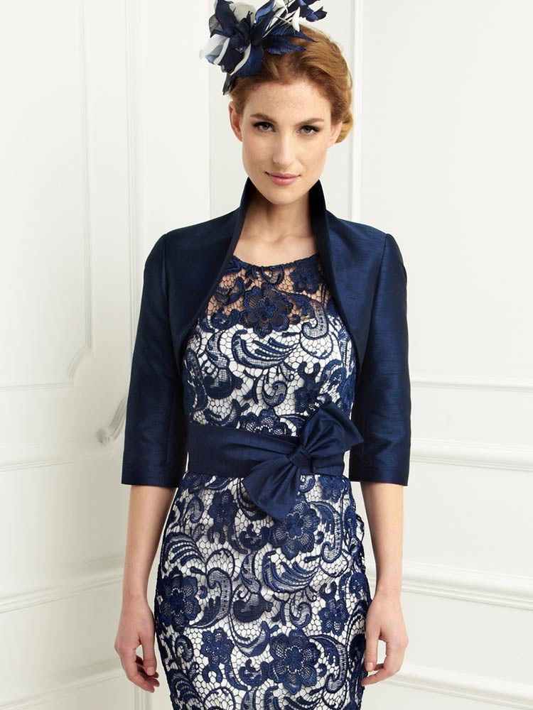 Buy navy blue mother of the bride dresses for Dress jacket for wedding guest