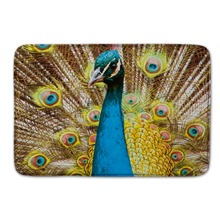 Buy Peacock Pride Pattern Waterproof Door Mats Eco-Friendly Material Kitchen Rug Coral Fleece Floor Mat Fashion Bath Mats for $12.79 in AliExpress store