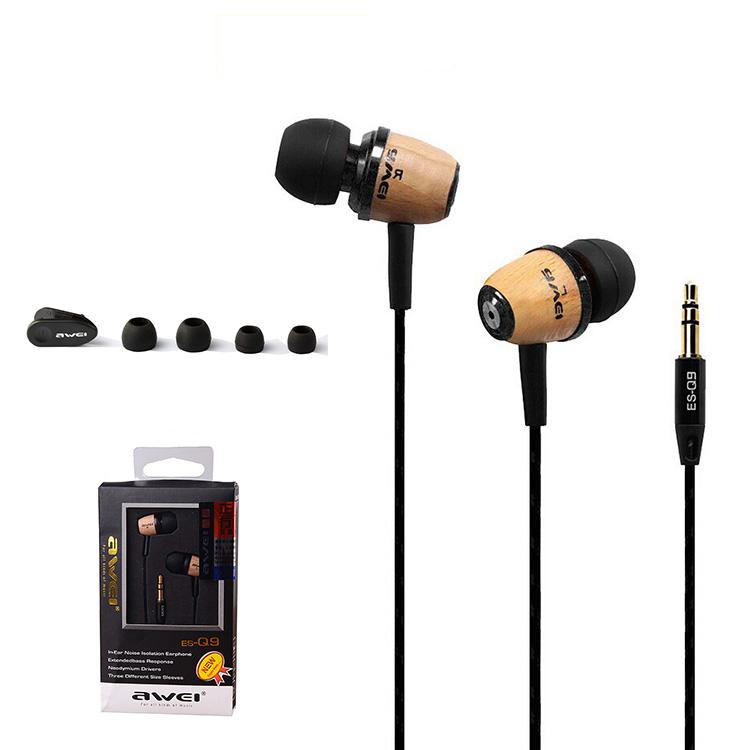 Original AWEI Q9 Super Bass Wooden in Ear Headphones Earphones Headset Fone De Ouvido 3.5mm Jack for Samsung / Xiaomi /HTC(China (Mainland))