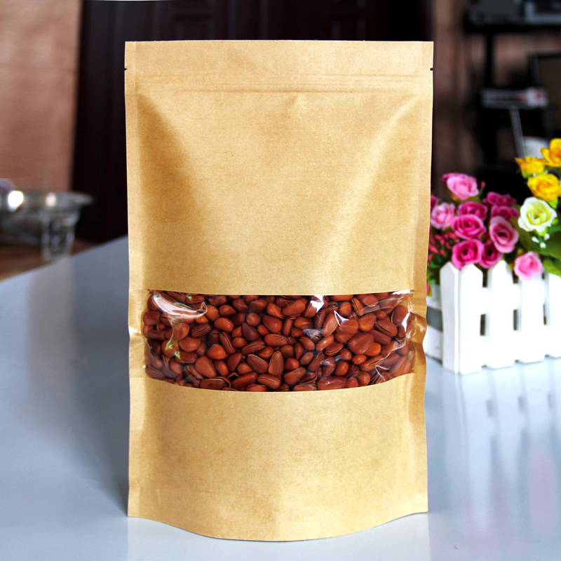 50pcs/lot 18cm*26cm+4cm Bottom *140mic High Quality Food Self Adhesive Bags Kraft Paper Stand Up With Zipper Bags(China (Mainland))
