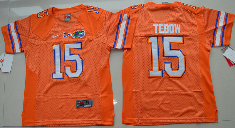 New Arrival High Quality Nike Florida Gators Tim Tebow 15 College T-shirt Jersey - Orange Size S,M,L,XL(China (Mainland))