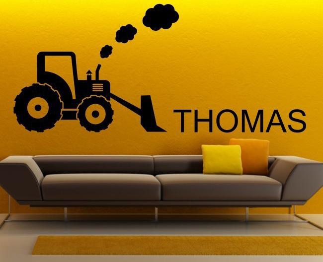 Benutzerdefinierte Vinyl Wandtattoos Bulldozer Bagger Traktor mit  Personalisierte Name für Schlafzimmer Wandaufkleber Kinder Jungen Kunst  Dekoration
