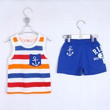 Summer Navy Style Cool Children Girl Clothing Sets Kids Set Striped Vest Shorts Clothing Set For Boys 1896(China (Mainland))