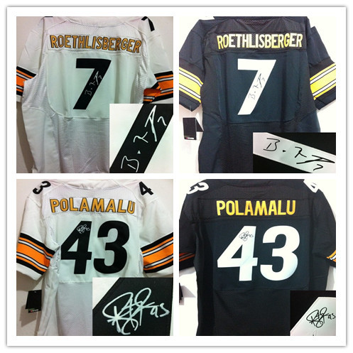 steelers Elite Football jersey #43 Troy Polamalu #7 Ben Roethlisberger Signed jerseys Men's Best Quality Jersey Embroidery logo(China (Mainland))