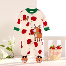 New arrive 2015 fashion rompers 0 24M bebes clothing 100 cotton long sleeve Cartoon cow Christmas