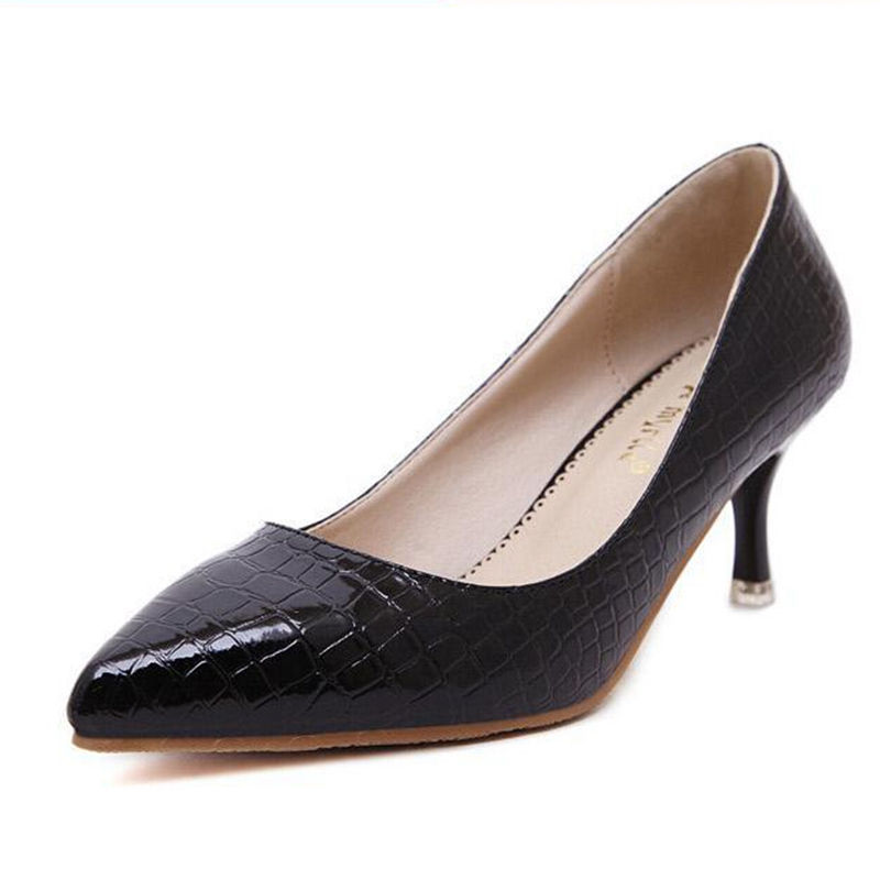 Women Pumps Snakeskin pattern Mid High Heel Shoes Poimted Toe Dress Shoes For Woman Black White Color<br><br>Aliexpress