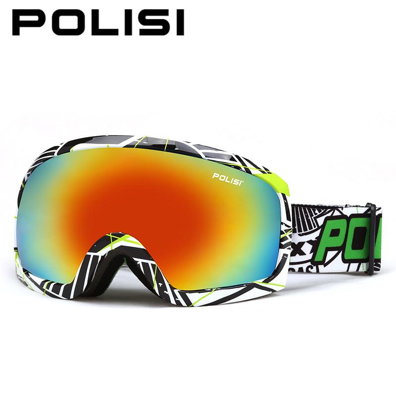 POLISI Spherical Lens Ski Goggles Polarized Snow Snowboard Glasses Anti-Fog Skiing Eyewear Outdoor Snowmobile Motocross Goggles