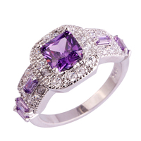 Magnificent 925 Silver Ring Size 6 7 8 9 10 11 Amethyst White Topaz Beauty Jewelry