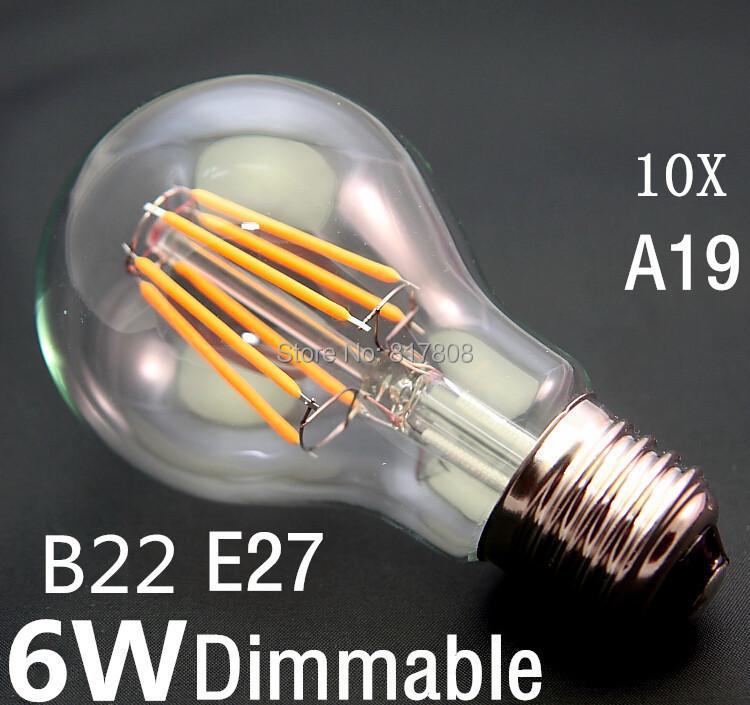 Hot Sale Led Lamp A19 B22 E27 AC110V 220V 6W Dimmable Filament Led Bulb 360 Degree Warm White Energy Saving Light(China (Mainland))